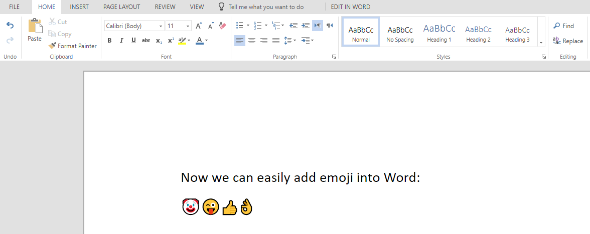 Emoji in Microsoft Word